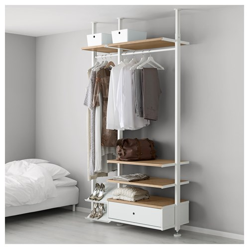 Elvarli A 231 ık Dolap Beyaz Bambu 135x51x222 350 Cm Ikea