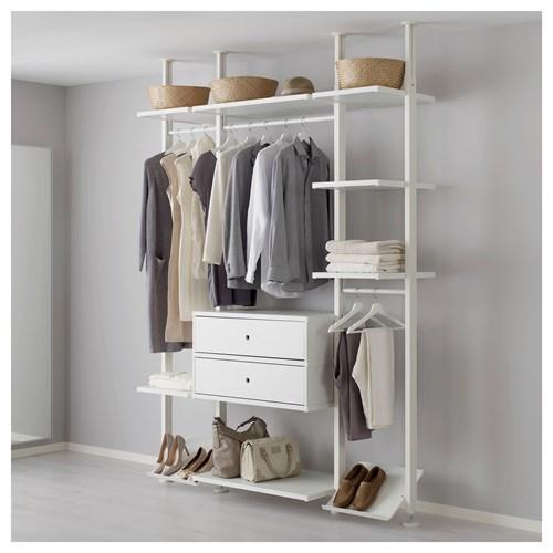 Open Bedroom Storage: ELVARLI Open Storage Unit White 178x51x222-350 Cm