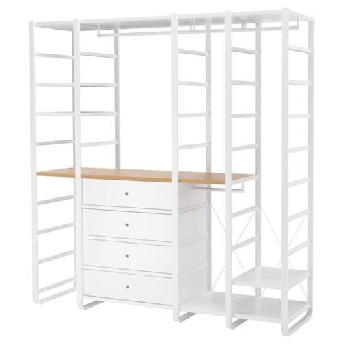 Open Bedroom Storage: ELVARLI Open Storage Unit White/bamboo 206x55x216 Cm