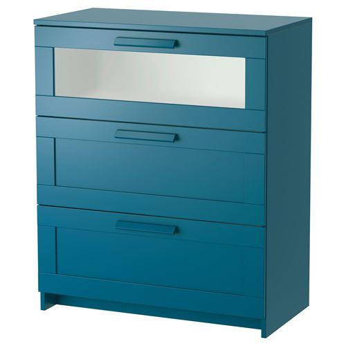 BRIMNES 3çekmeceli u015fifonyer koyu ye u015fil mavi buzlu cam 78×96 cm IKEA Yatak Odalar u0131
