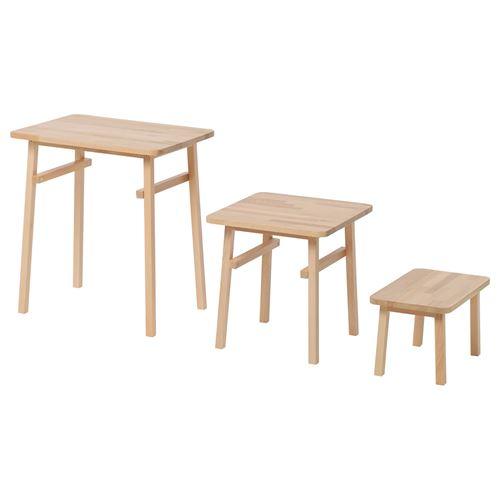 YPPERLIG Nest Of Tables Beech IKEA Living Room