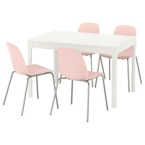 Incredible Ekedalen Leifarne Extendable Table And Chairs White Pink 120 Home Interior And Landscaping Ologienasavecom