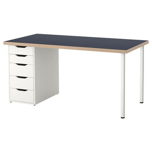 Home Office White Blue: LINNMON/ALEX Desk Blue-white 150x75 Cm