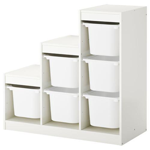 Kids Room Bedroom Storage Chest Unit Box With Lid For Sale: TROFAST Storage-unit White 99x44x94 Cm