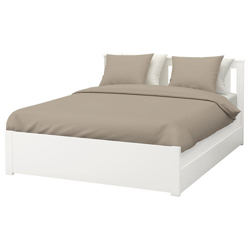 SONGESAND/LURÖY double bed with 4 storage boxes white 160x200 cm ...