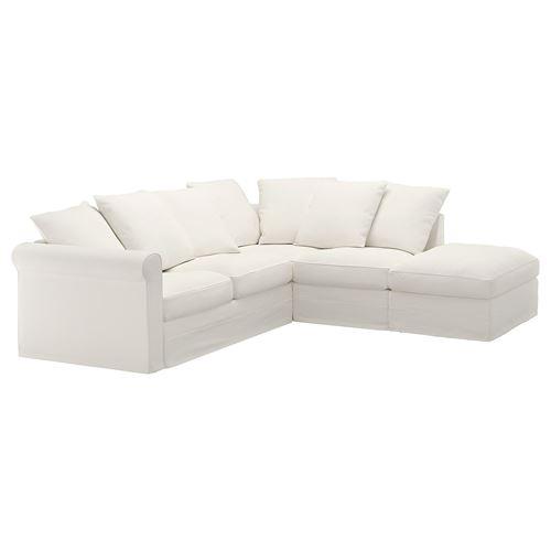 Gr nlid 4 seat corner sofa inseros white with footstool ikea living room - Divani letto angolari ikea ...