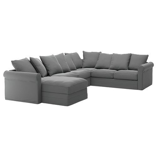 GRÖNLID 5-seat corner sofa and chaise longue ljungen medium grey ...