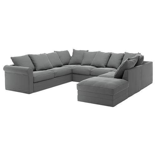 gr nlid 6 seat sofa ljungen medium grey with footstool ikea living room