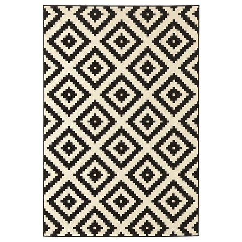 Lappljung Ruta Halı Beyaz Siyah 200x300 Cm Ikea Ev Tekstili