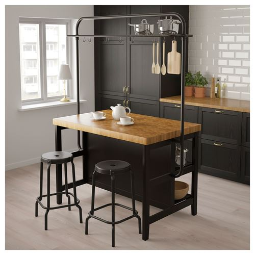 VADHOLMA,kitchen island with rack
