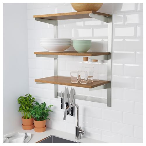 KUNGSFORS,suspension rail with shelf/magnetic knife rack