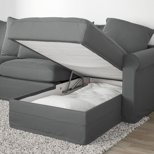 GRÖNLID,3-seat sofa bed with chaise longue