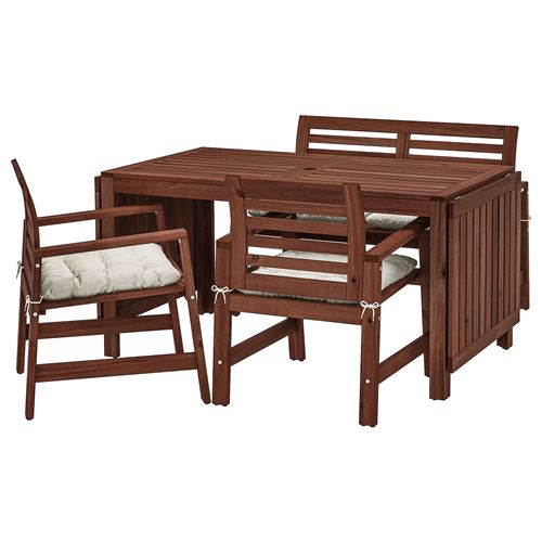 APPLAROdrop Leaf Dining Table Chair Bench With Backrest Set Brown