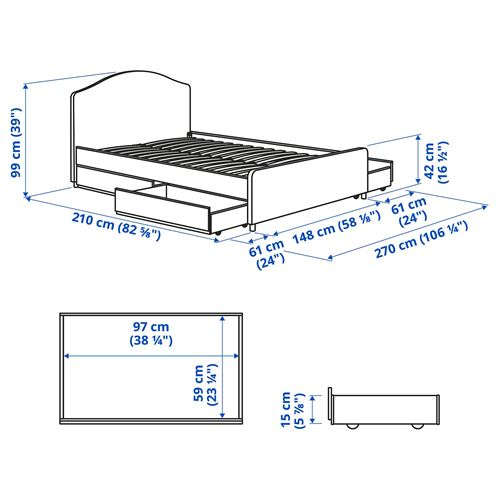 HAUGA,double bed with 4 storage boxes
