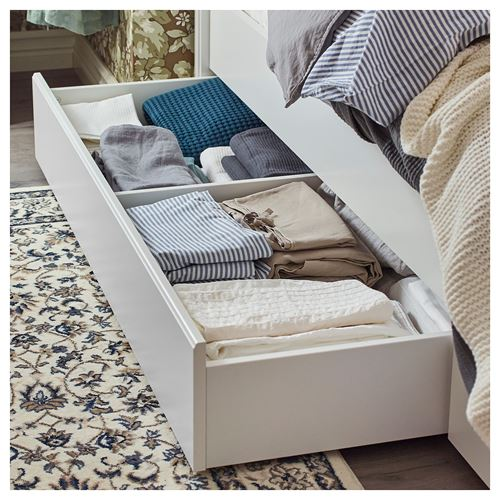 SONGESAND/LÖNSET,double bed with 4 storage boxes